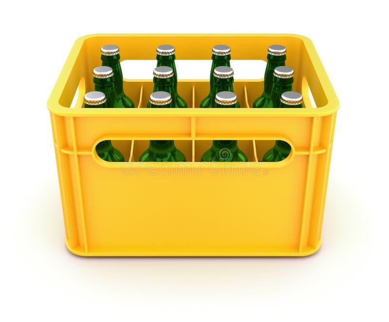 Caixa da bebida com garrafas de cerveja ilustração stock