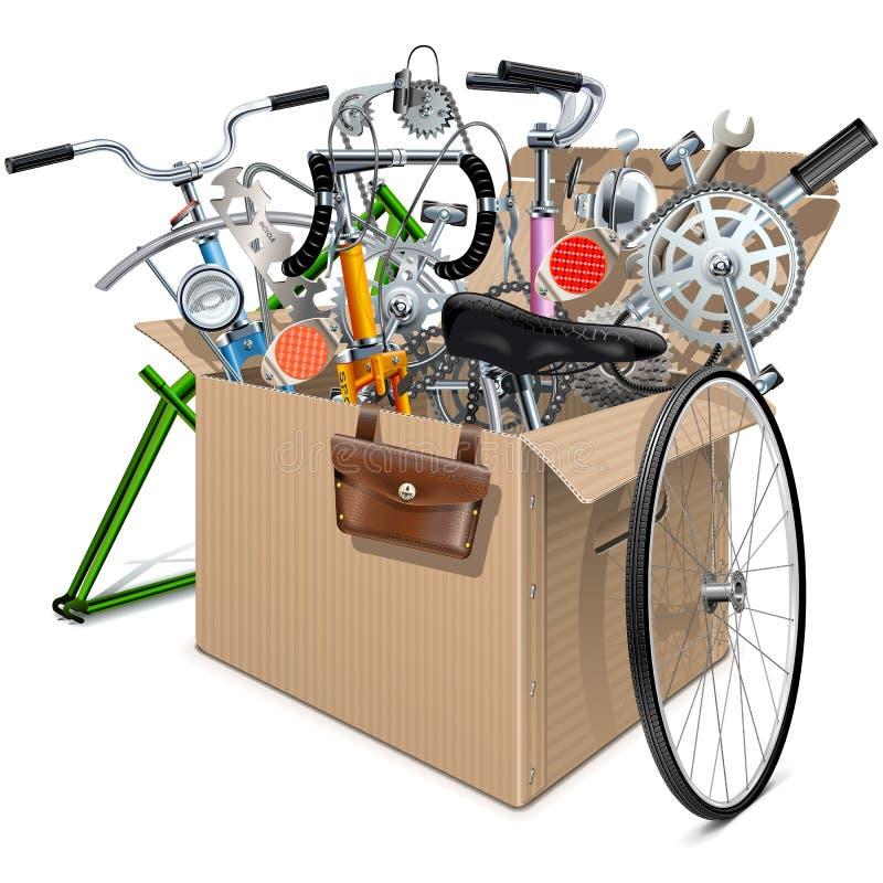 Caixa da caixa do vetor com sobressalentes da bicicleta ilustração royalty free