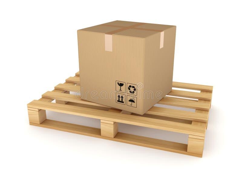 Caixa da caixa em uma pálete ilustração do vetor