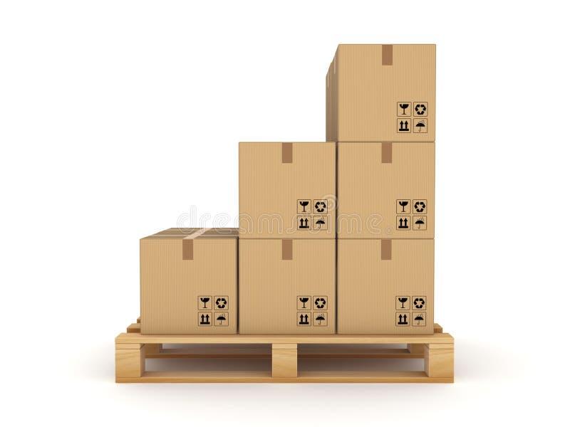 Caixa da caixa em uma pálete ilustração royalty free