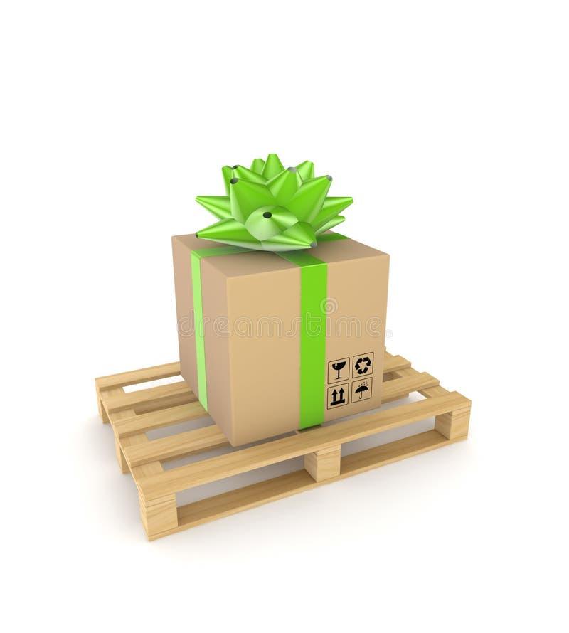 Caixa da caixa em uma pálete de madeira. ilustração royalty free