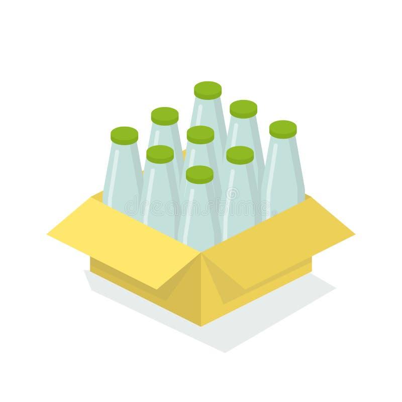 Caixa da caixa com as garrafas de vidro com produções de leite ilustração do vetor