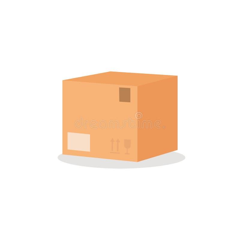 Caixa da caixa com sinal da mobília Ilustração lisa do vetor do estilo isolada no fundo branco Conceito movente fotografia de stock