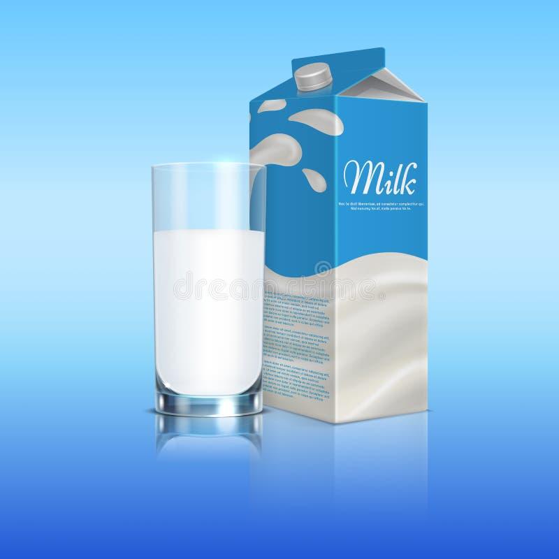 Caixa da caixa do leite com copo de vidro Molde do vetor ilustração do vetor