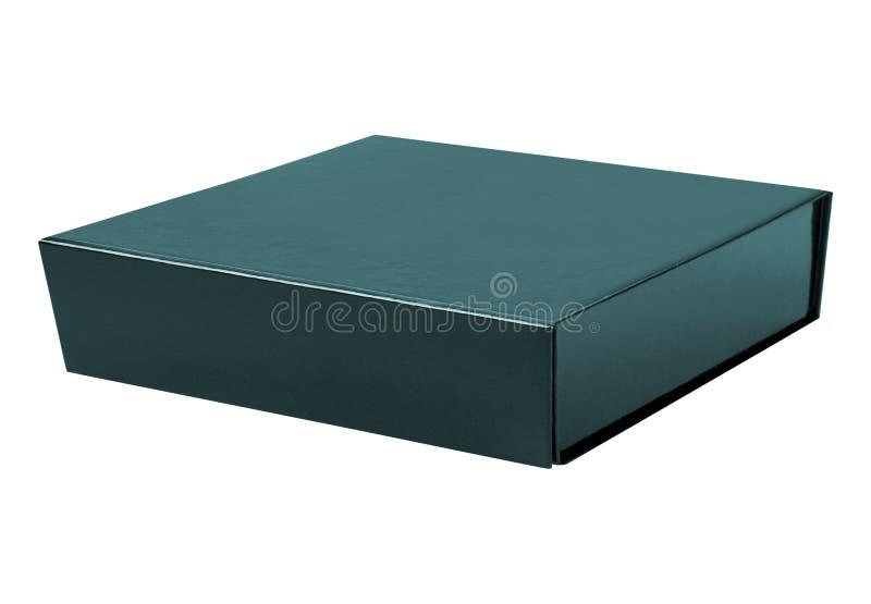 Caixa da caixa do quadrado preto isolada no branco fotografia de stock