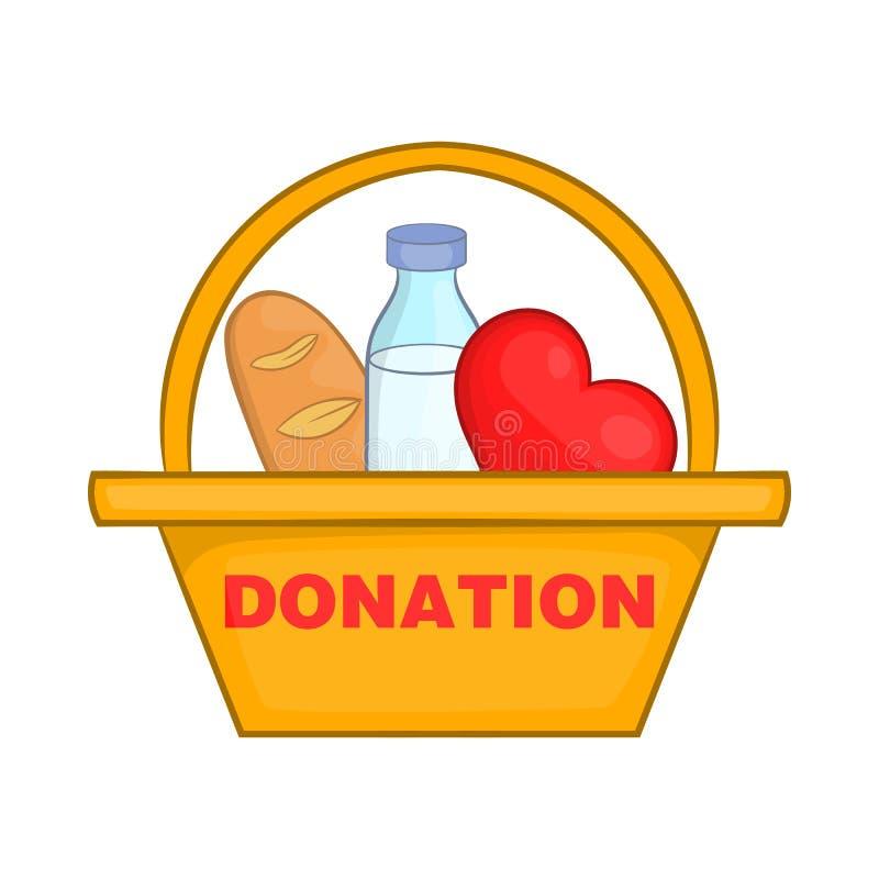 Caixa da doação com ícone do alimento, estilo dos desenhos animados ilustração stock