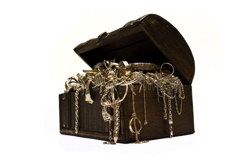 Caixa da jóia do ouro imagem de stock royalty free