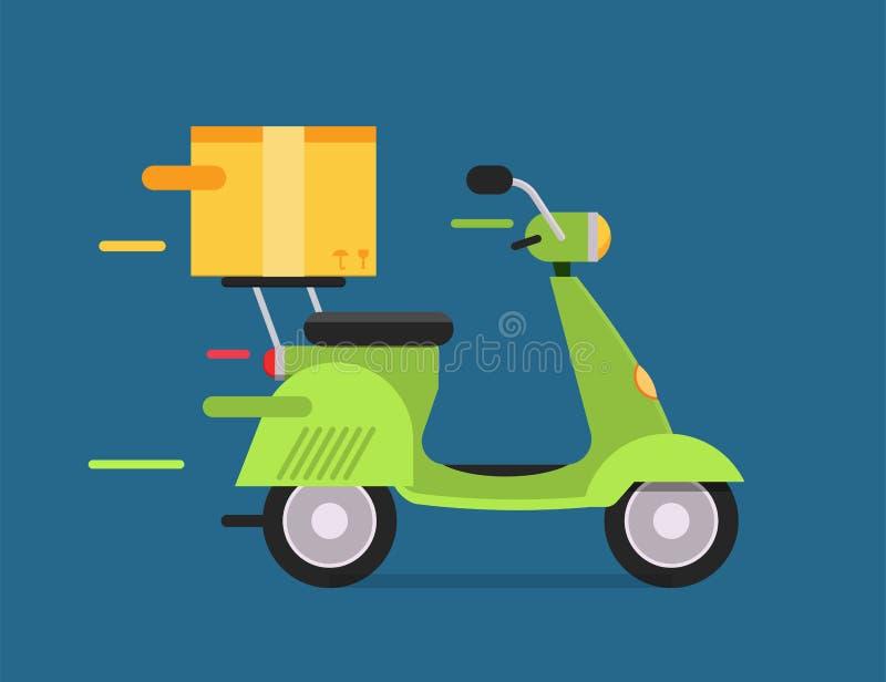 Caixa da motocicleta da bicicleta do moto do transporte do vetor da entrega ilustração royalty free
