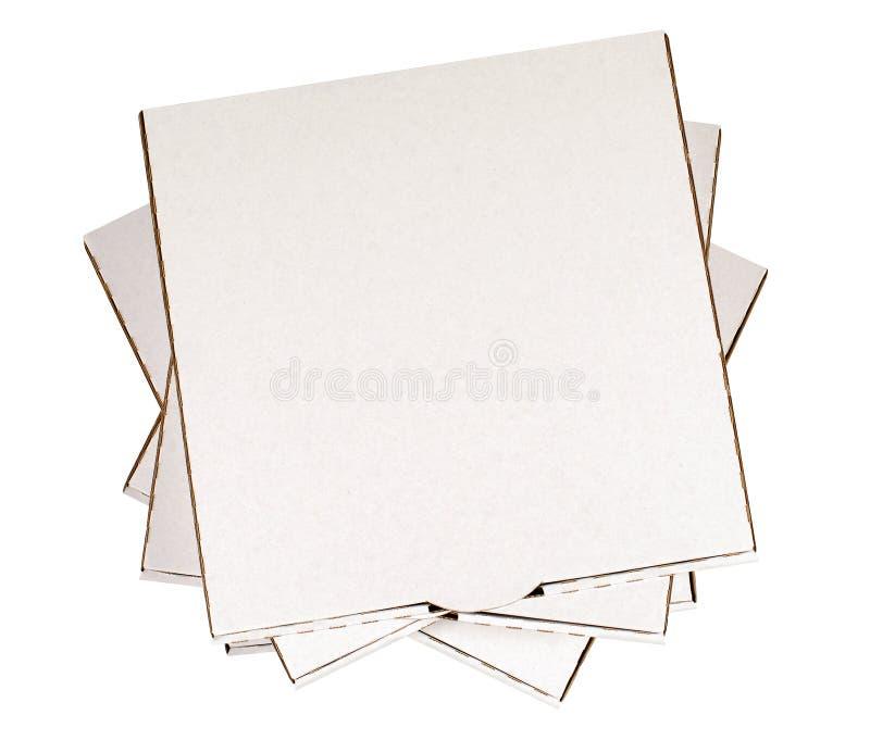 Caixa da pizza, branco, pilha quadrada pequena, vista superior, espaço da cópia imagem de stock royalty free