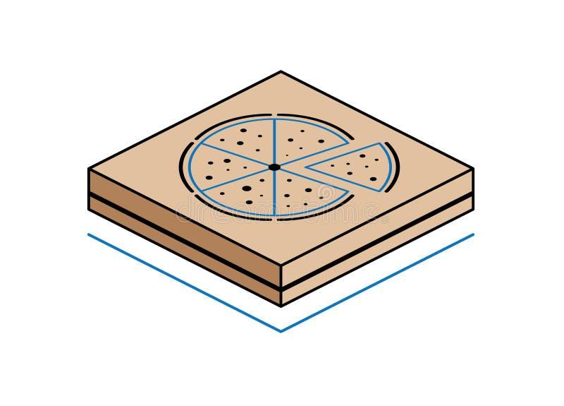 Caixa da pizza isolada no fundo branco imagem de stock