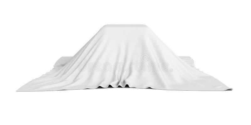 Caixa da surpresa coberta com o pano branco imagens de stock