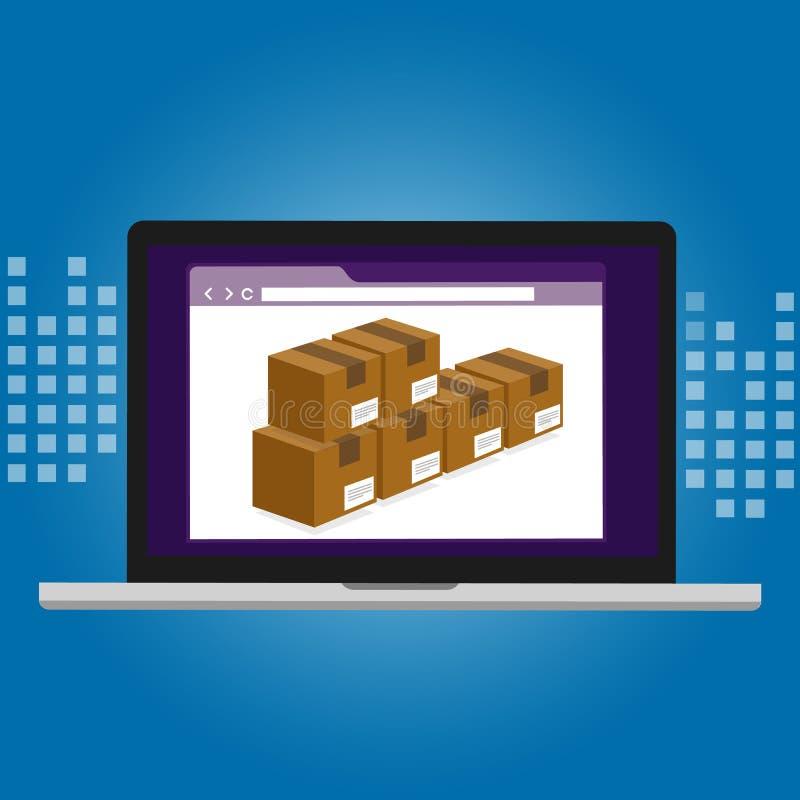 Caixa da tecnologia do armazém do sistema da logística da gestão de inventário dentro do software informático ilustração stock