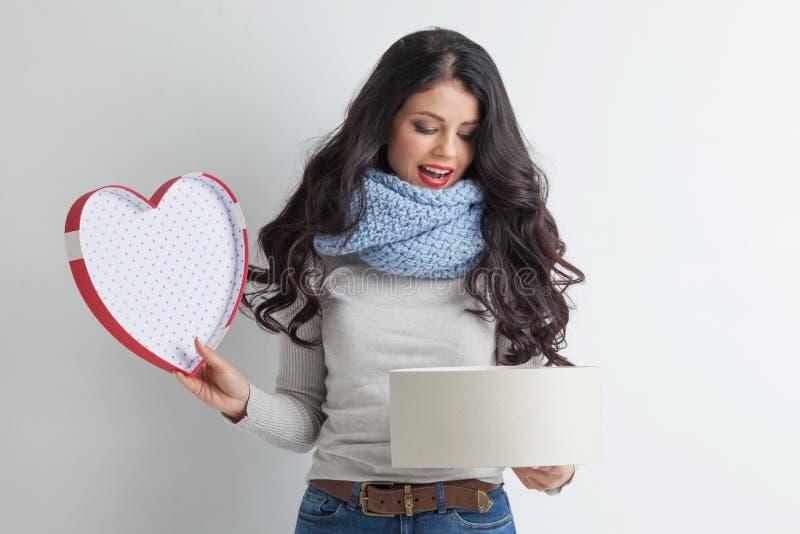 Caixa dada forma da mulher coração aberto imagem de stock royalty free