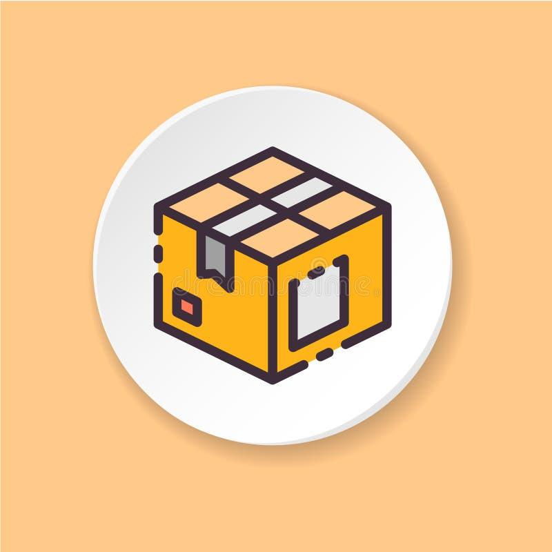 Caixa de ícone lisa Pacote do conceito, exportação, importação ilustração stock