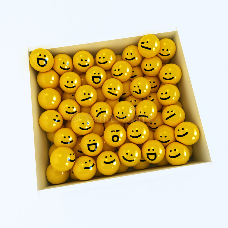 Caixa de ícones da emoção ilustração royalty free
