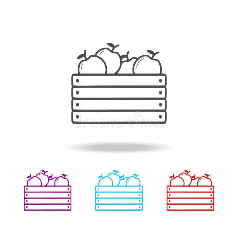 caixa de ícones das maçãs Elementos do fast food em multi ícones coloridos Ícone superior do projeto gráfico da qualidade Ícone s ilustração do vetor