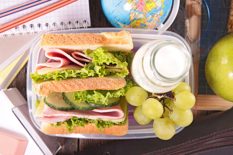 Caixa de almoço escolar imagem de stock royalty free