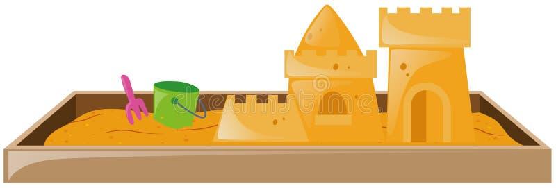 Caixa de areia com castelo de areia e cubeta ilustração stock