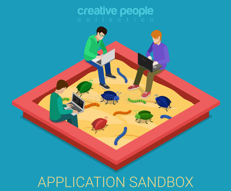 A caixa de areia do desenvolvimento de aplicações elimina erros do vetor 3d isométrico liso ilustração stock