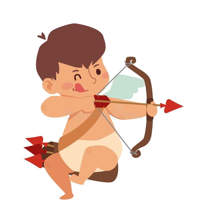 Caixa de asas do anjo do cupido do bebê com vetor dos desenhos animados da aliança de casamento ilustração do vetor