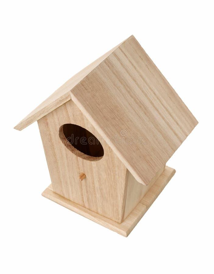 Caixa de assentamento de madeira do pássaro foto de stock