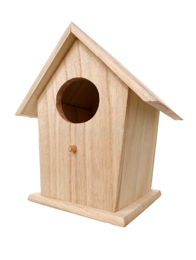 Caixa de assentamento de madeira do pássaro fotos de stock