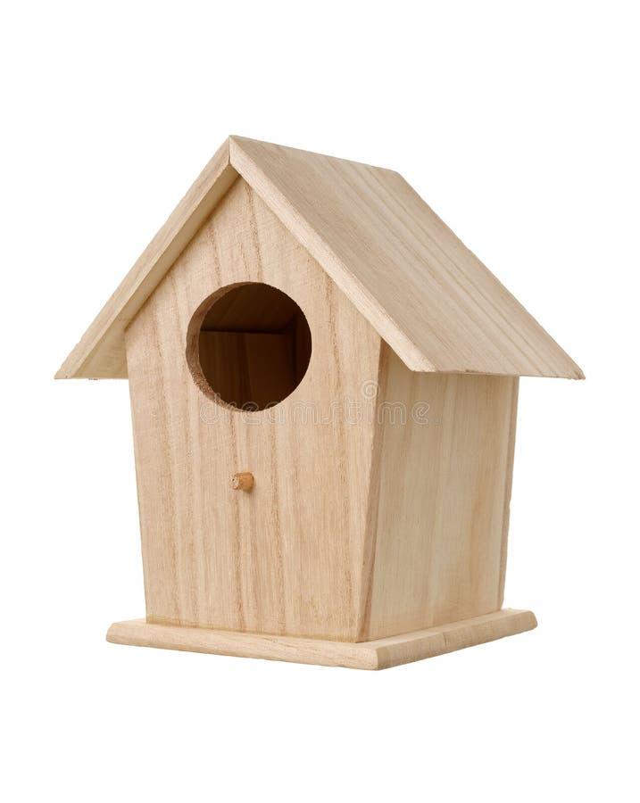 Caixa de assentamento de madeira do pássaro fotografia de stock