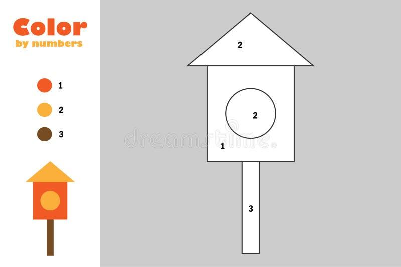 Caixa de assentamento no estilo dos desenhos animados, cor pelo número, jogo do papel da educação para o desenvolvimento das cria ilustração stock