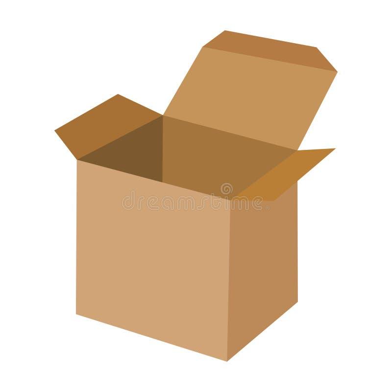 Caixa de cartão aberta vazia isolada no fundo branco Vista lateral Vetor liso da caixa de transporte da caixa de Brown ilustração do vetor