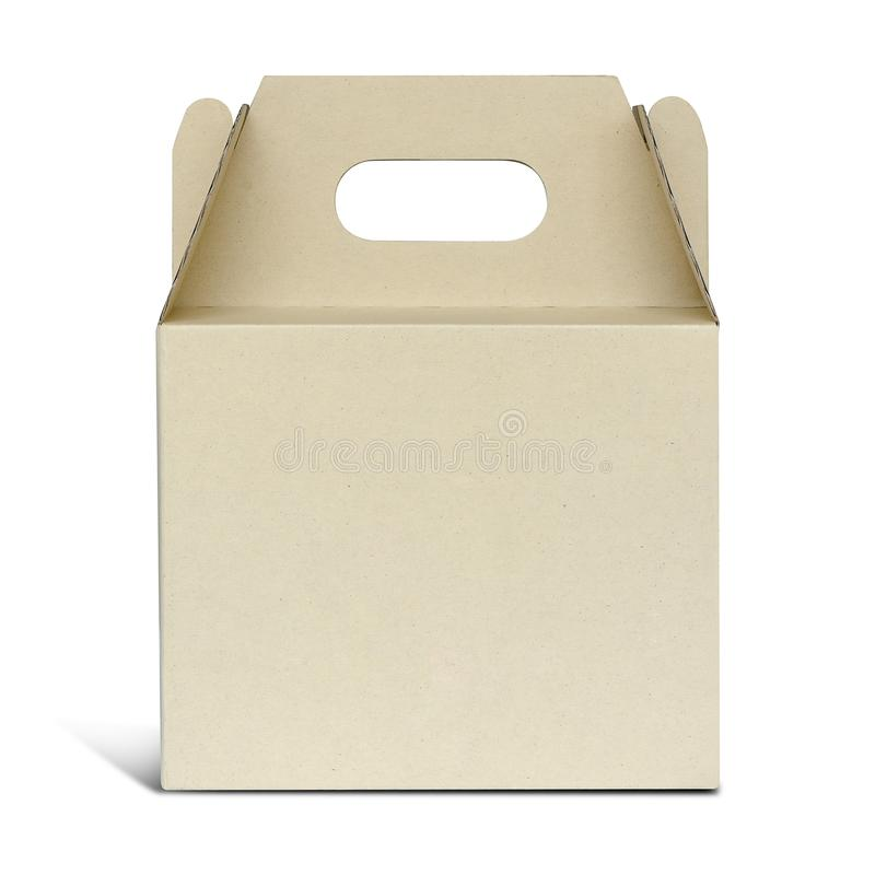 Caixa de cartão de Brown com o punho isolado sobre um fundo branco imagens de stock
