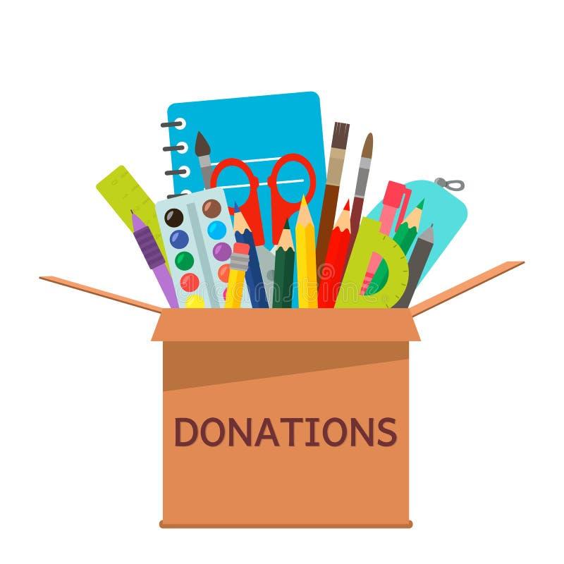 Caixa de cartão de Brown para as doações completas dos artigos de papelaria a uma escola para povos pobres ilustração royalty free