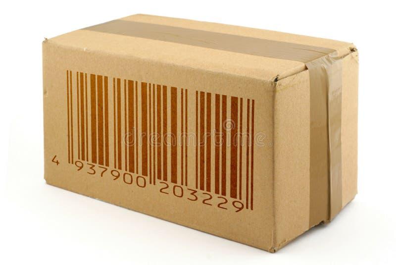 Caixa de cartão com código de barra falsificado foto de stock royalty free