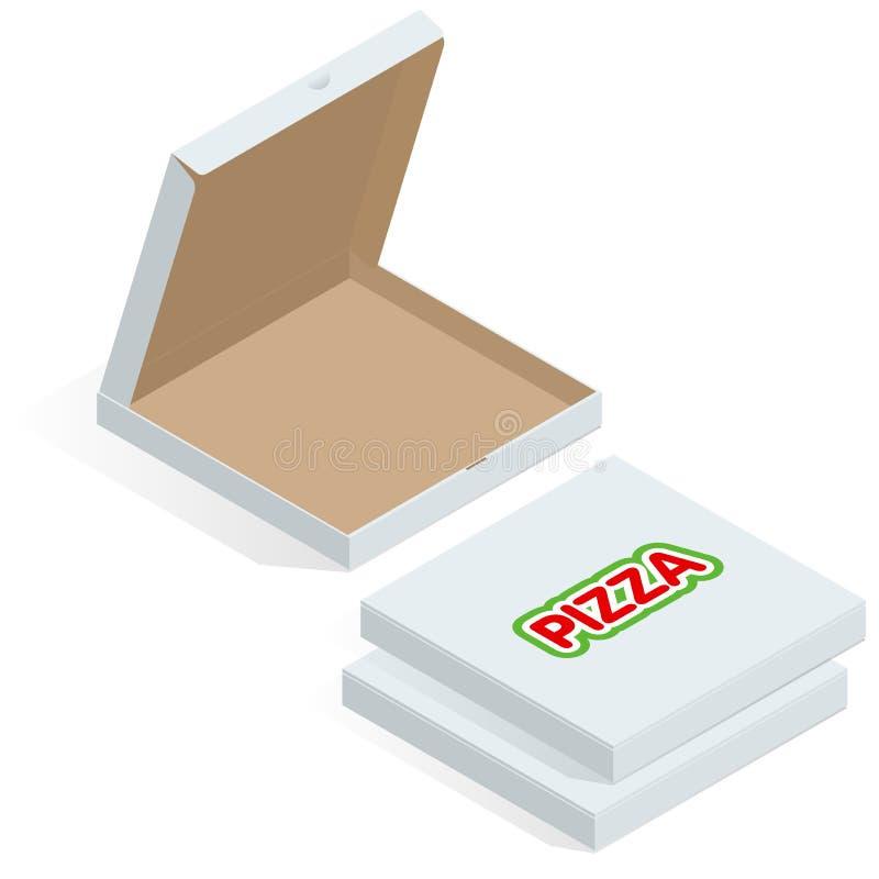 Caixa de cartão isométrica realística da pizza 3d Vista aberta, fechado, lateral e superior Ilustração lisa do vetor do estilo is ilustração stock