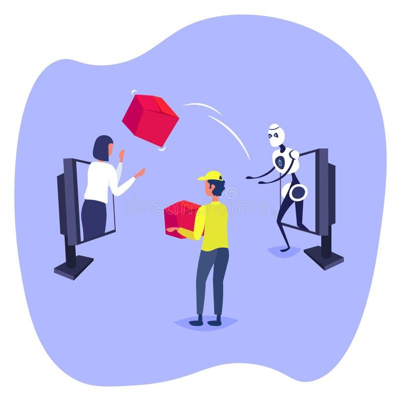 Caixa de cartão de jogo do robô ao cliente da mulher do conceito de compra em linha e da inteligência artificial da tela do portá ilustração royalty free