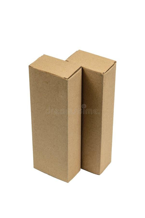 Caixa de cartão marrom de dois pacotes para artigos longos Modelo, isolado fotografia de stock