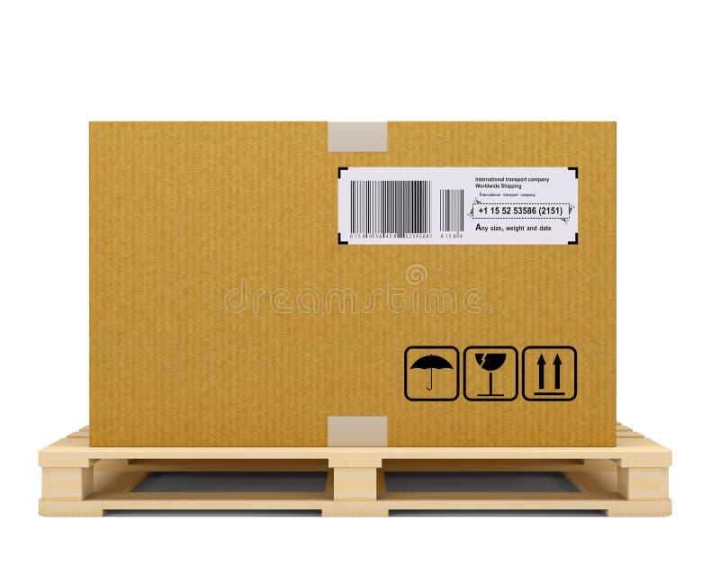 Caixa de cartão na pálete de madeira ilustração stock