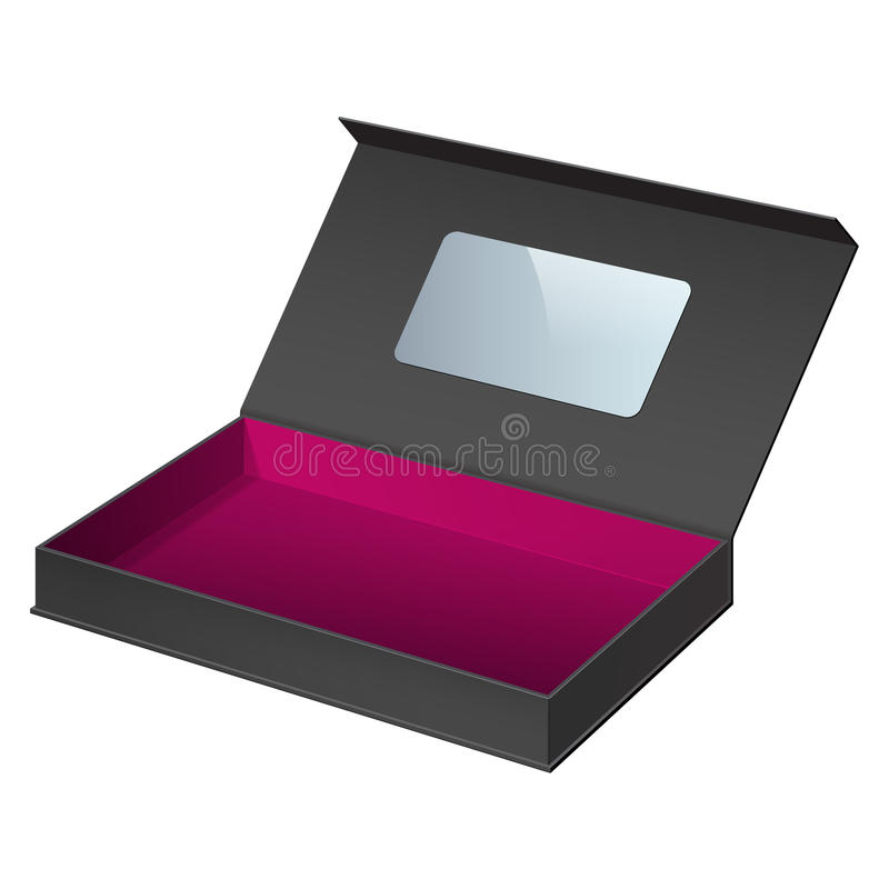 Caixa de cartão preta do pacote aberta ilustração royalty free