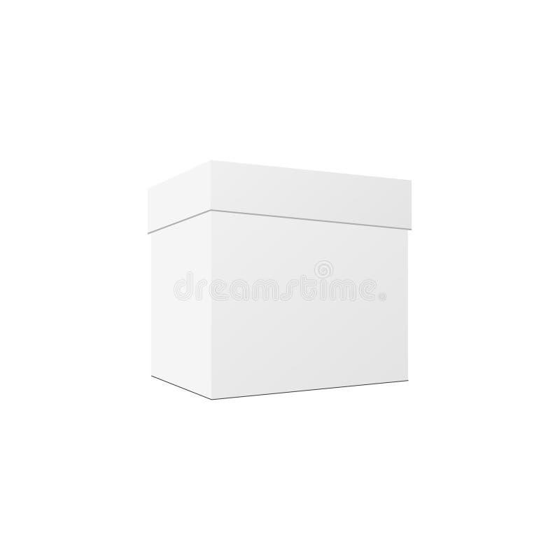 Caixa de cartão retangular vertical branca vazia Vetor ilustração stock