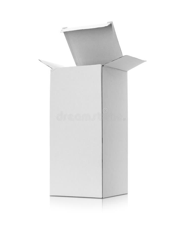 Caixa de cart?o em branco isolada no fundo branco Molde da caixa longa para seu projeto Objeto dos trajetos de grampeamento ilustração do vetor