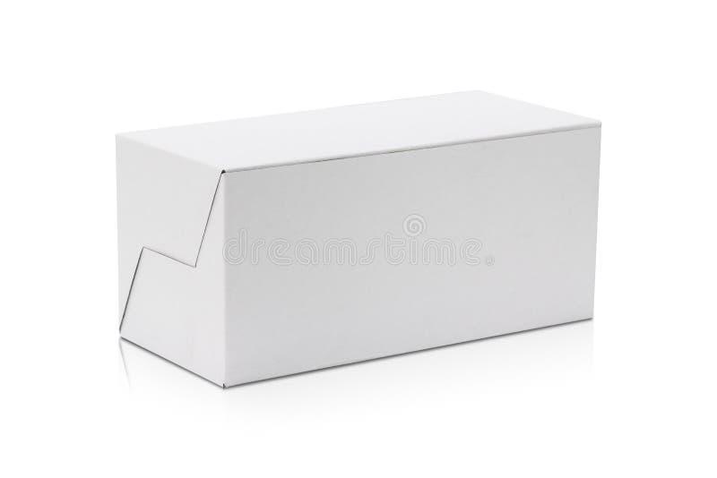 Caixa de cart?o em branco isolada no fundo branco Molde da caixa longa para seu projeto Objeto dos trajetos de grampeamento ilustração royalty free