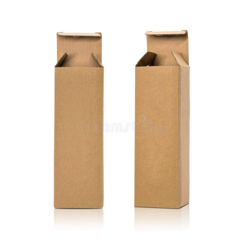 Caixa de cart?o isolada no fundo branco Molde da caixa longa para seu projeto Objeto dos trajetos de grampeamento ilustração do vetor