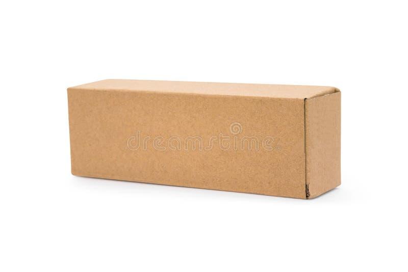 Caixa de cart?o isolada no fundo branco Molde da caixa longa para seu projeto Objeto dos trajetos de grampeamento ilustração stock