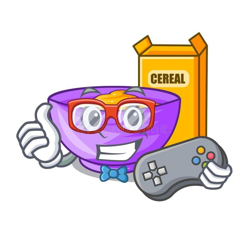 Caixa de cereal do Gamer na mascote da forma ilustração royalty free
