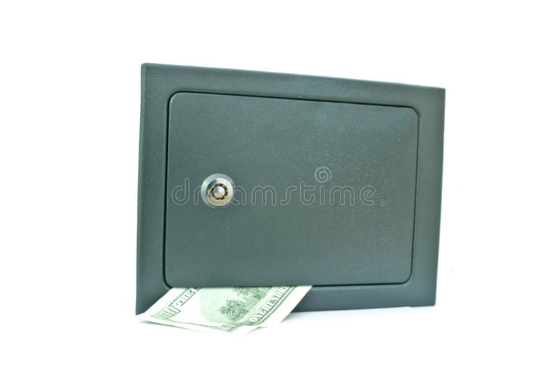 Caixa de cofre-forte com dinheiro fotografia de stock