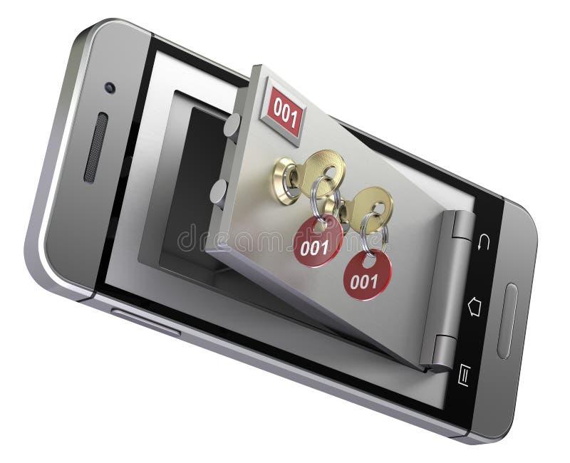 Caixa de cofre-forte no telefone celular ilustração stock