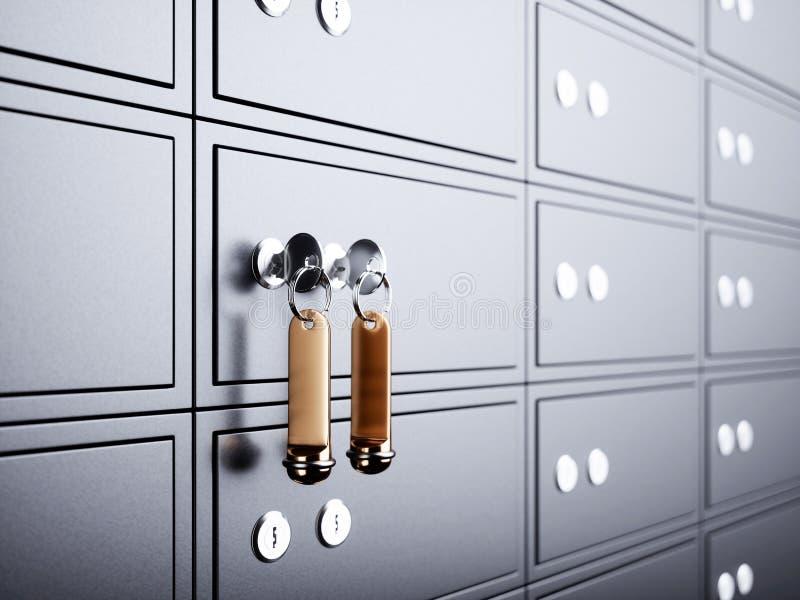 Caixa de depósito com chave e etiqueta dourada ilustração do vetor