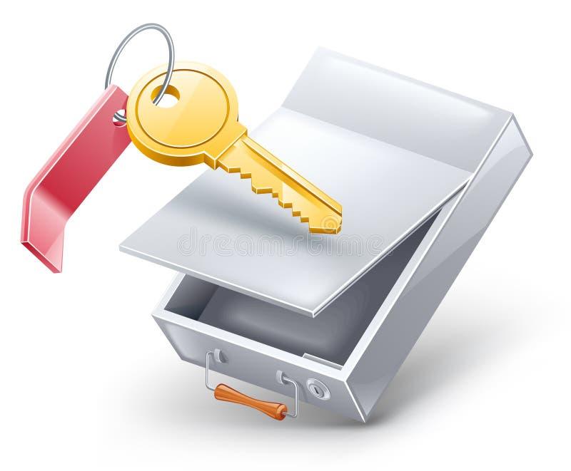 Caixa de depósito da segurança com chave ilustração stock