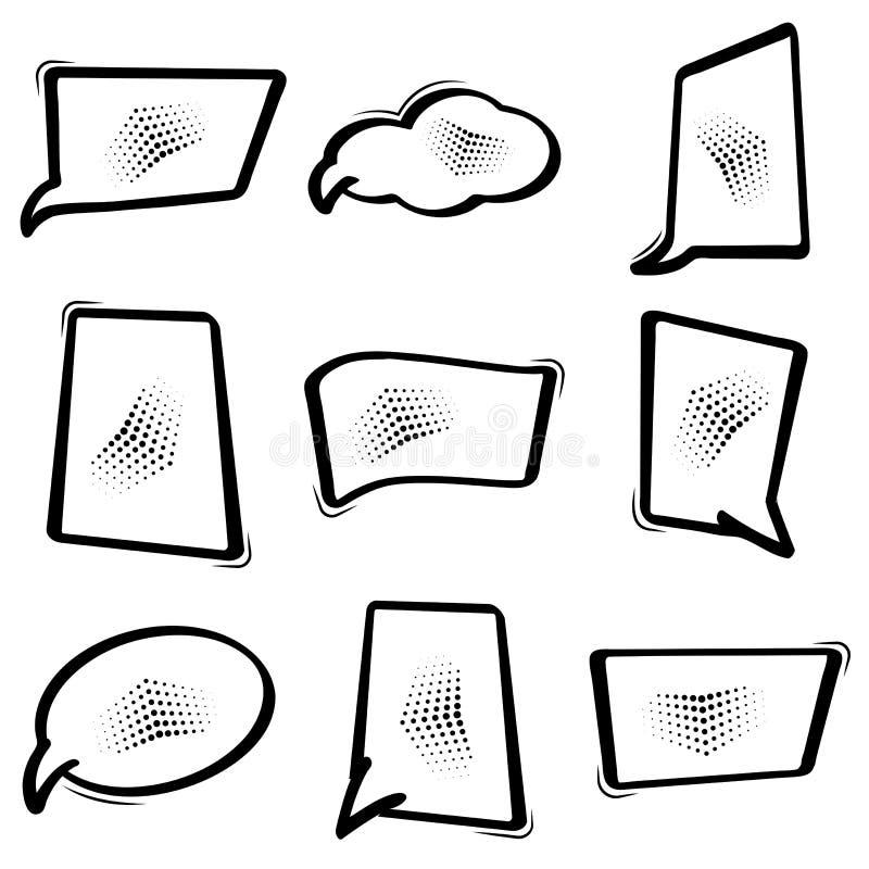 Caixa de diálogo ajustada preta, bolhas do discurso no estilo do pop art Balão vazio da banda desenhada Vetor ilustração do vetor