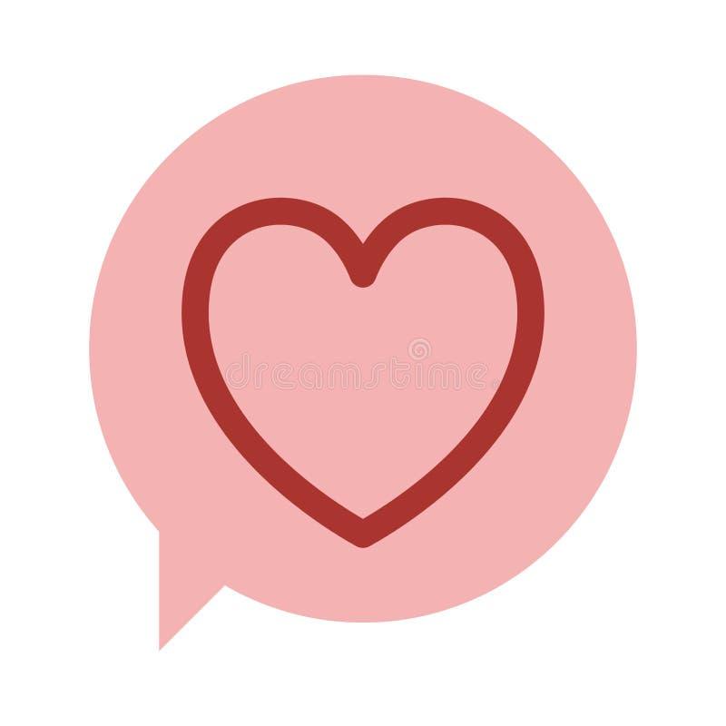 caixa de diálogo oval com ícone vermelho do projeto do coração da silhueta ilustração do vetor