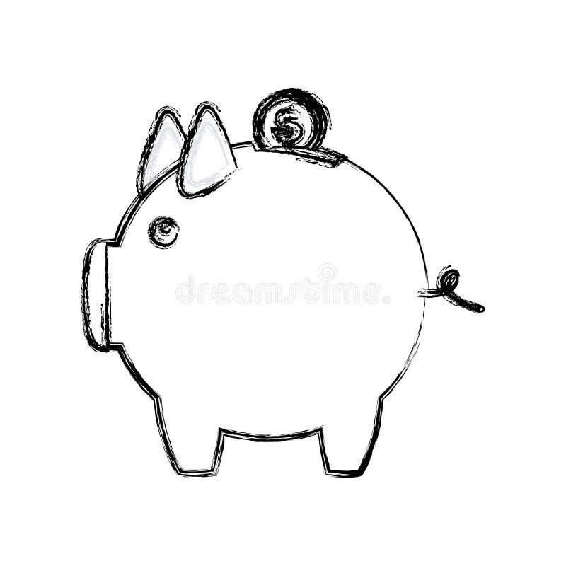 caixa de dinheiro borrada da silhueta na forma do porco ilustração do vetor
